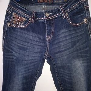 Grace In LA Womans Embellished Boot Cut Jeans